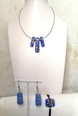 Collier bleu et or 3 pièces